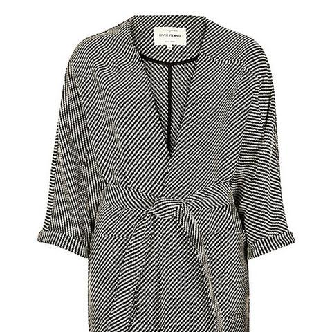 Woven Belted Kimono Jacket