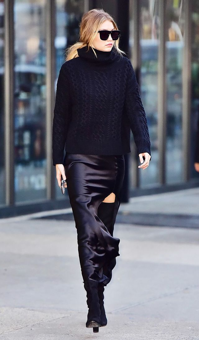 Look #9: Chunky Turtleneck Sweater + Maxi Skirt
