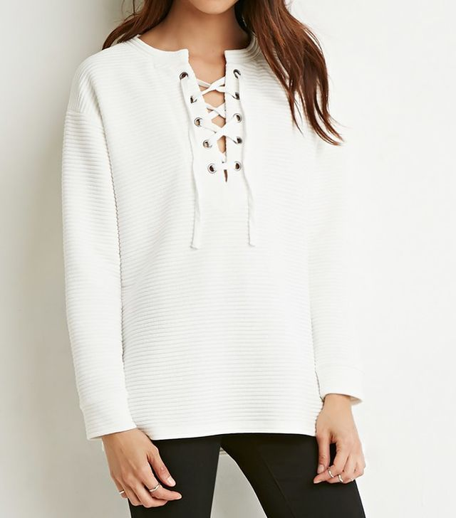 Forever 21 Quilted Lace-Up Top