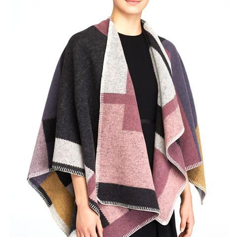 Colorblock Mega Check Blanket Cape