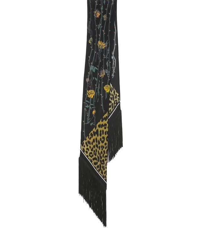 Rockins Rockins Classic Skinny Fringed Rose Leopard Silk Scarf