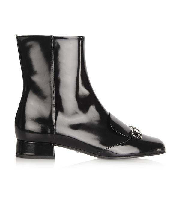 Best Black Ankle Boots: Gucci Horsebit-Detailed Patent-Leather Ankle Boots