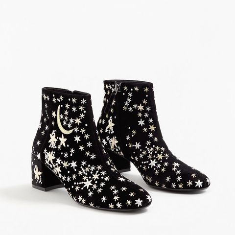 Stars Embroidered Ankle Boots