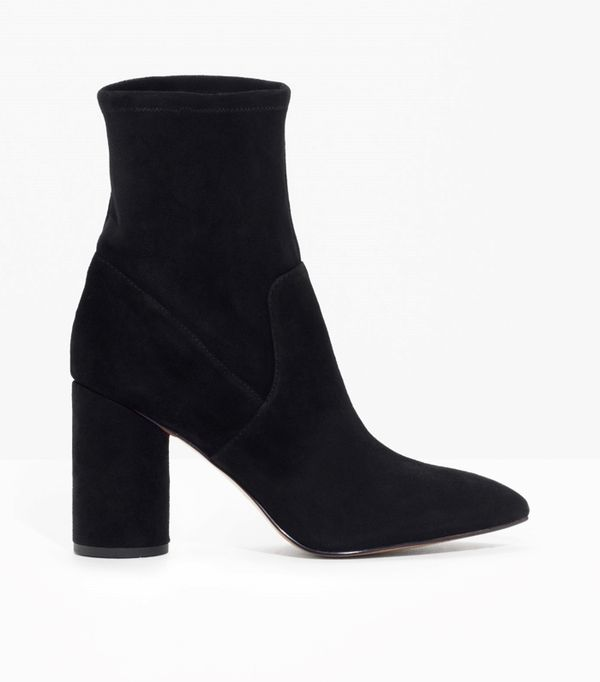 Best Black Ankle Boots: & Other Stories Suede Sock Boots