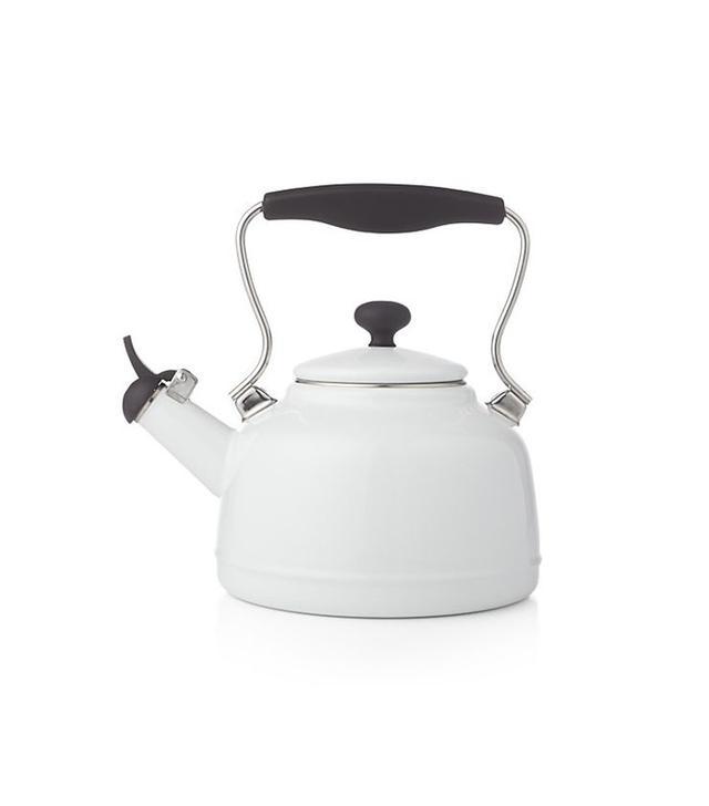 Crate & Barrel Vintage White Steel Enamel Tea Kettle