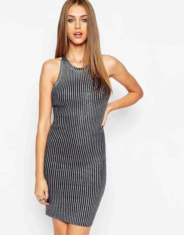 ASOS Premium Dress in Metallic Foil Rib Knit