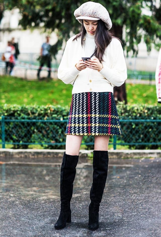 Shop the key piece:Mini Cream Tartan Tie Waist Skirt(£115)