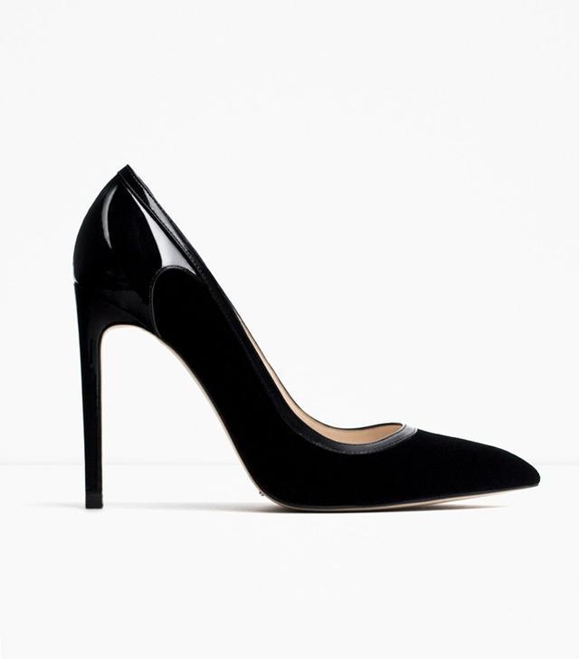 Zara Velvet High Heel Shoes