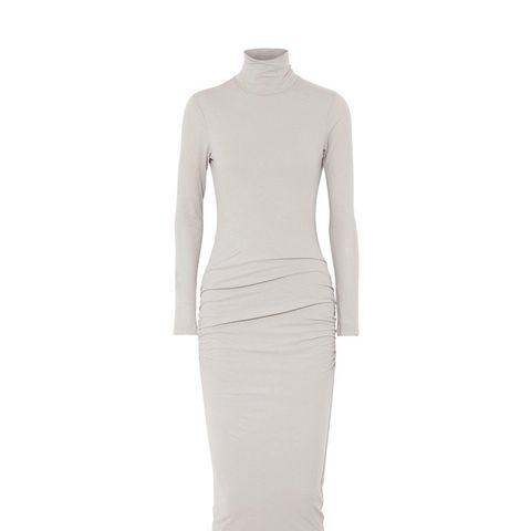 Ruched Stretch-Cotton Jersey Turtleneck Midi Dress
