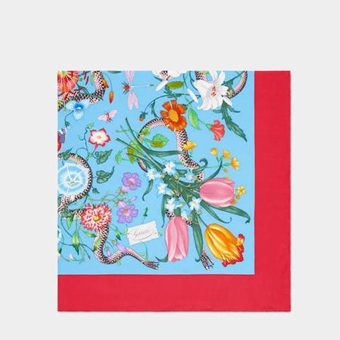Flora Snake Print Silk Scarf