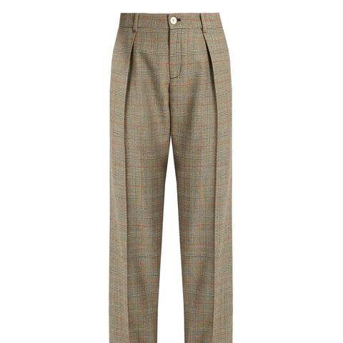 Prince of Wales-Checked Wool Trousers