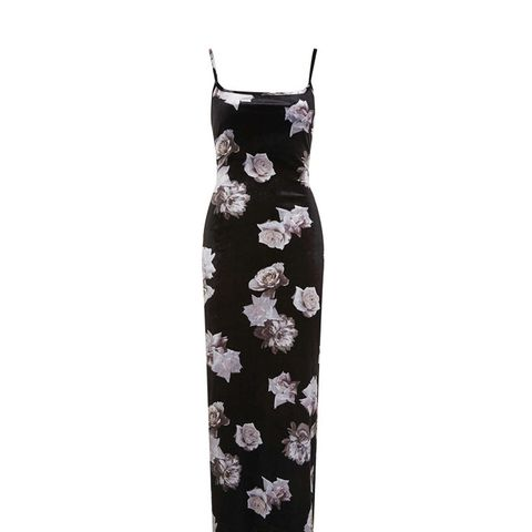 Printed Velvet Maxi Slip Dress
