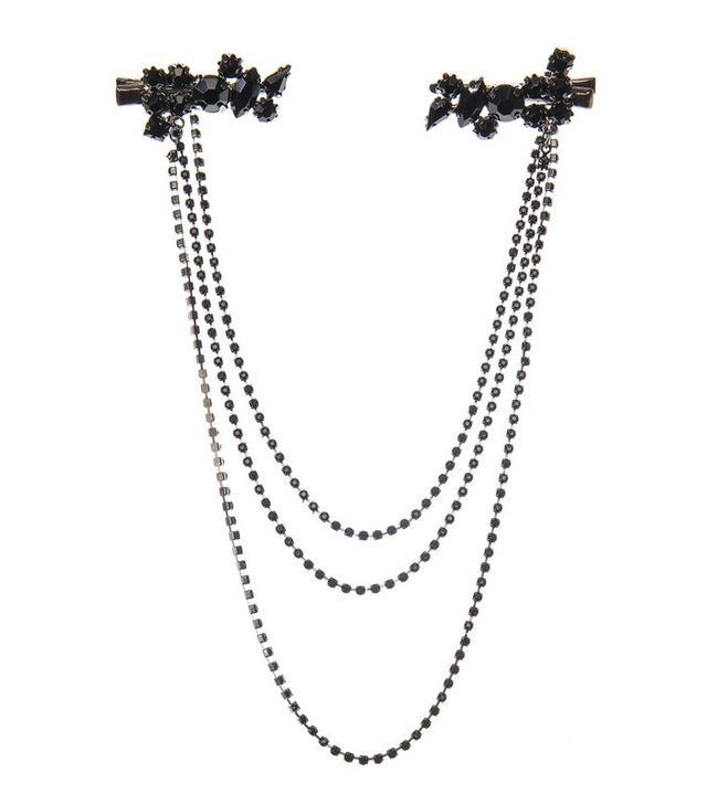 Claire's Accessories Black Crystal hair Swag