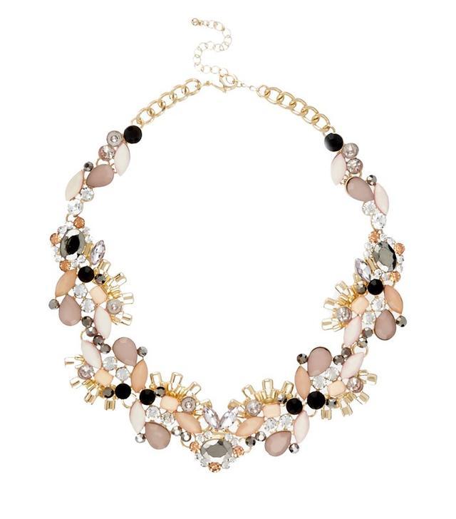 River Island Gold Tone Pink Gem Necklace
