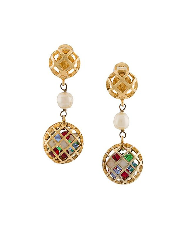 Chanel Vintage Gripoix Clip-On Earrings