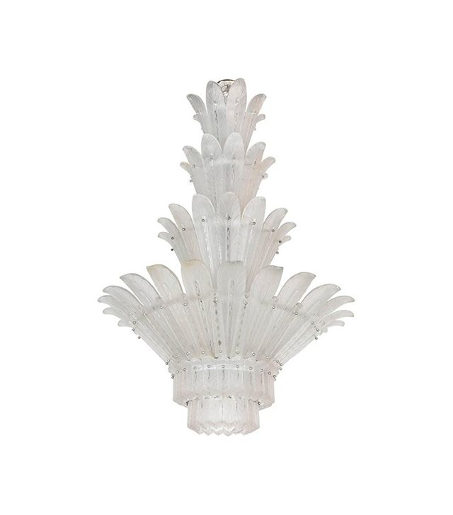 Art Deco and Clear Plume Chandelier