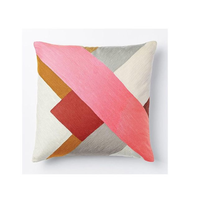 West Elm Crewel Modern Blocks Cushion Cover - Shockwave