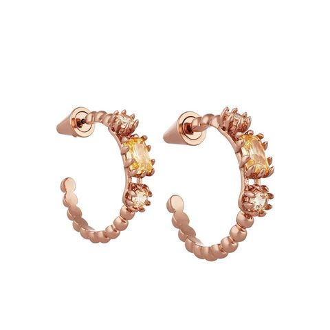 Estate Rose Gold-Plated Crystal Hoop Earrings