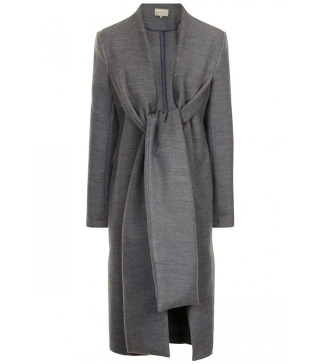 Lavish Alice Grey Marl Royal Tie Detail Duster Coat