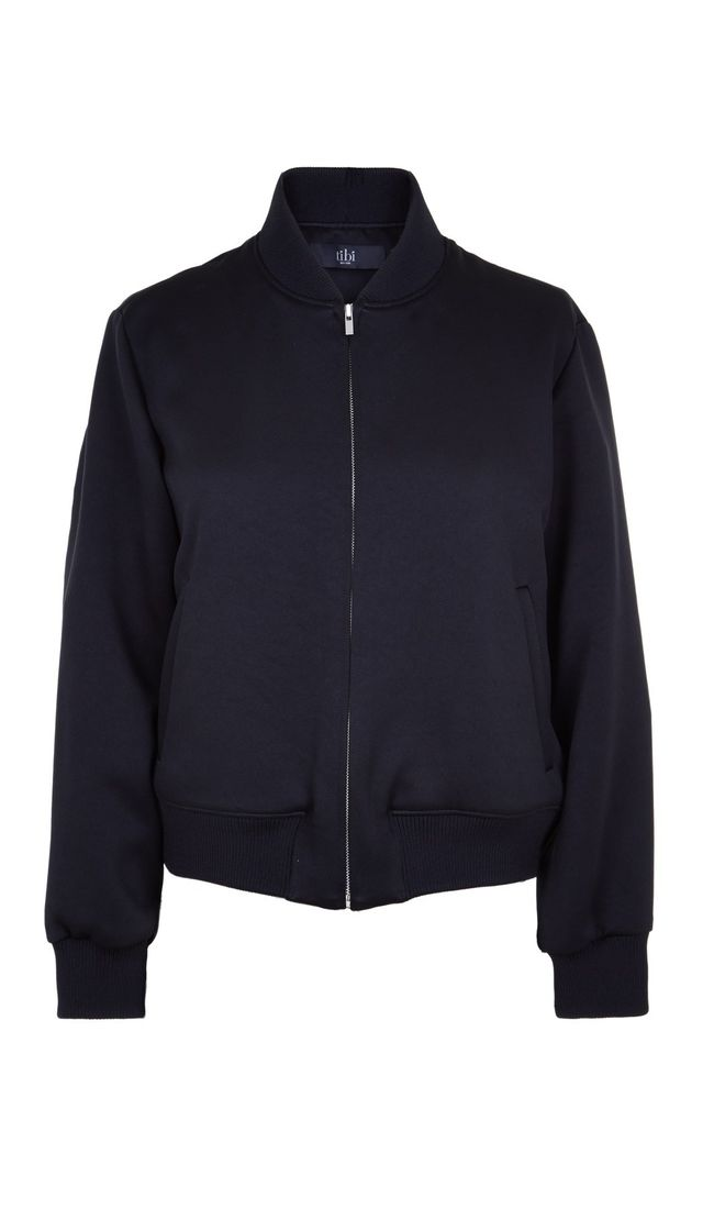 Tibi Double Face Cropped Satin Bomber