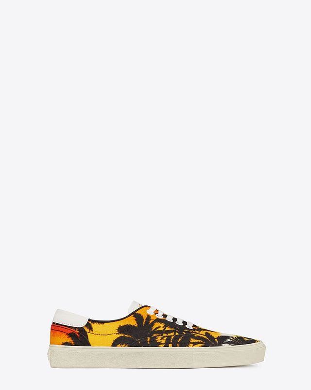 Saint Laurent Skate Lace-Up Sneaker in Sunset Palm Printed Canvas