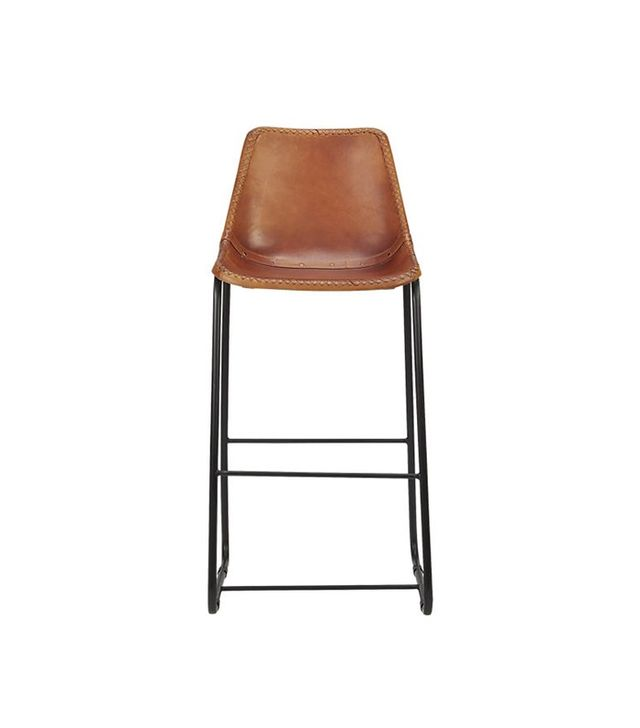 CB2 Roadhouse Leather Barstool
