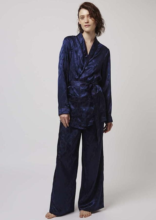 Topshop Leaf Jacquard Jacket And Pyjama Trousers