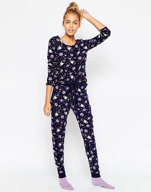 Asos All Over Space Print Tee & Legging Pajama Set