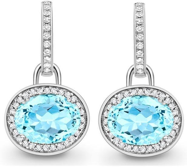Kiki McDonough Classic Blue Topaz Diamond Earrings