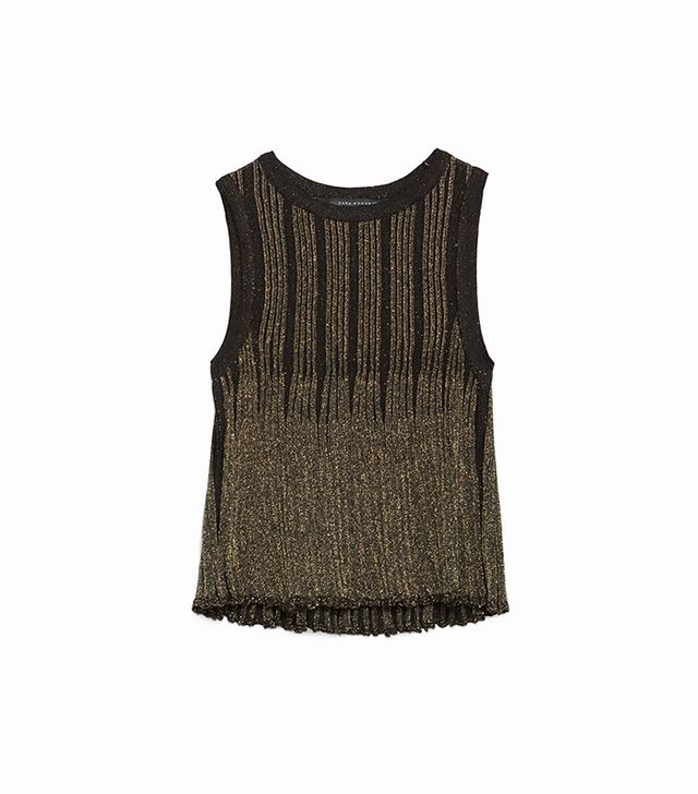 Zara Shimmer Pleated Top