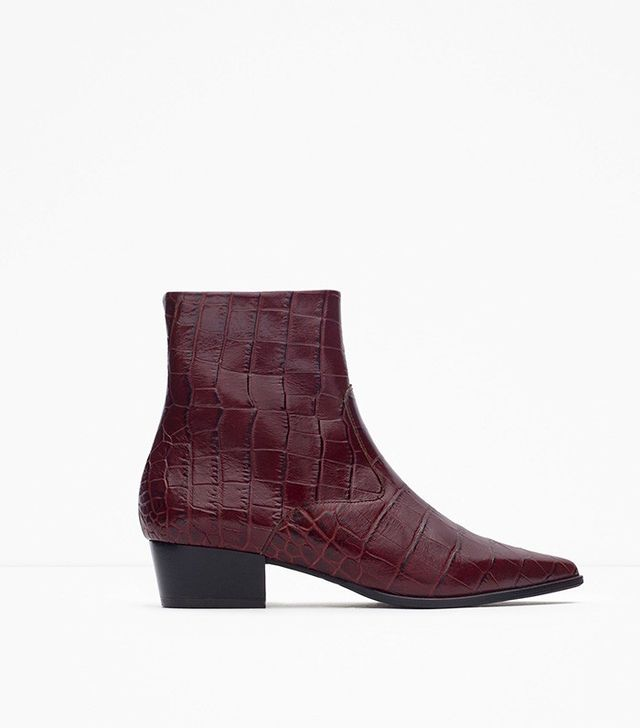 Zara Mock Croc Print Leather Ankle Boots