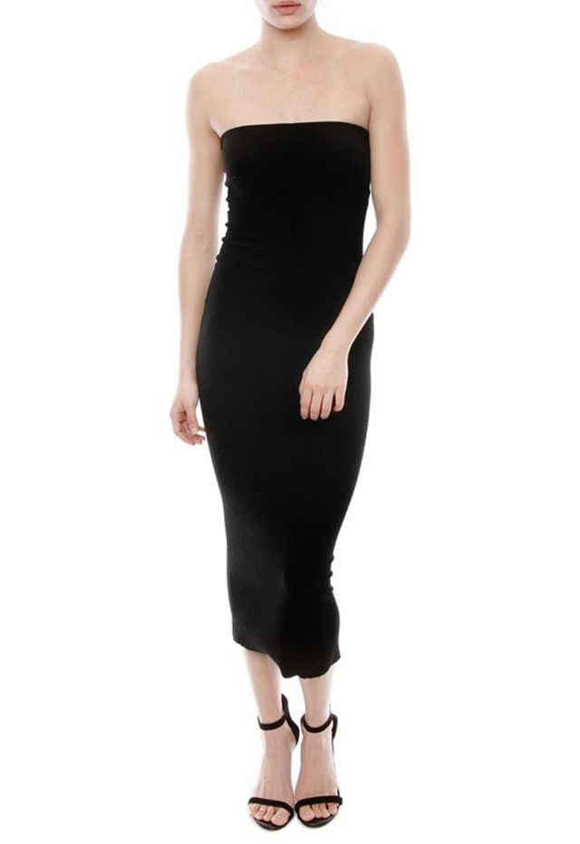Enza Costa Rib Strapless Dress in Black