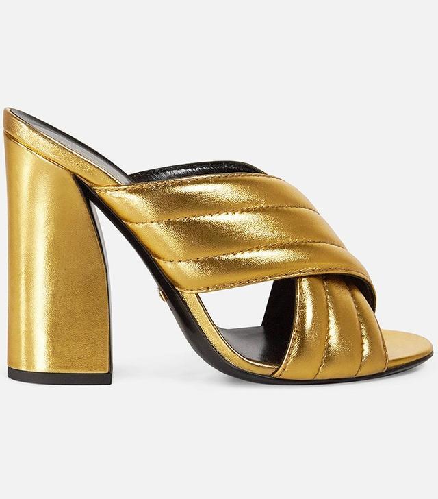 Gucci Metallic Crossover Sandals
