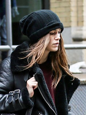 Keira Knightley Beats the Cold in Chic Shearling