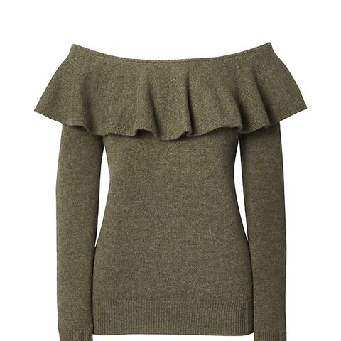Cashmere Ruffle Off-the-Shoulder Sweater