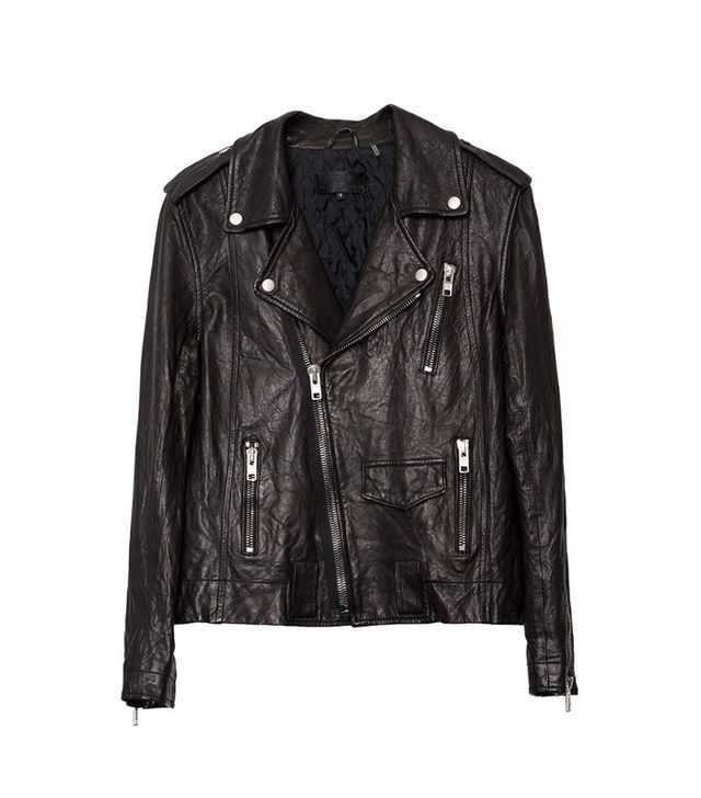 Nili Lotan Washed Leather Biker Jacket