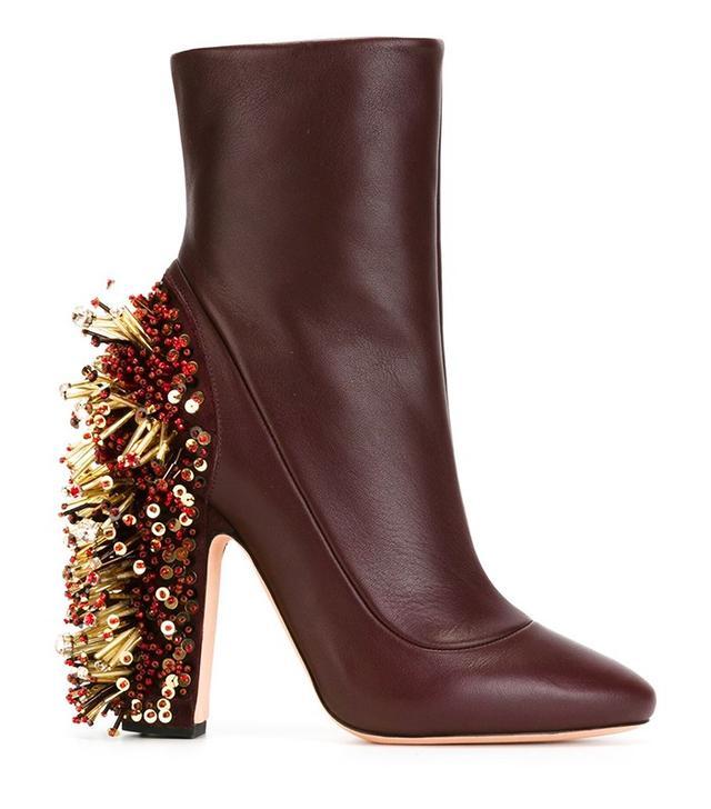 Rochas Beaded Chunky Heel Boots