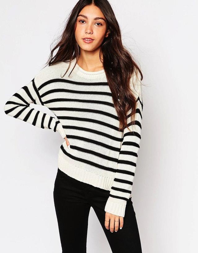 Daisy Street Stripe Crew Sweater with Side Splits