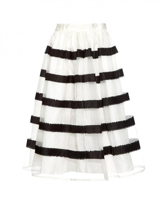Jupe By Jackie Jerzy Striped Silk Skirt