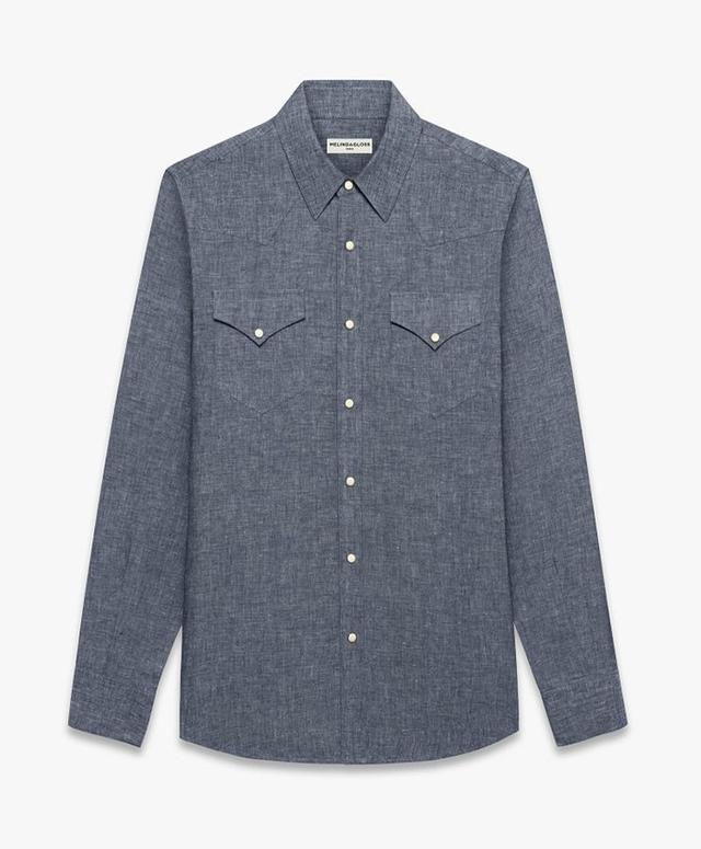 Melindagloss Blue Chambray Western Shirt