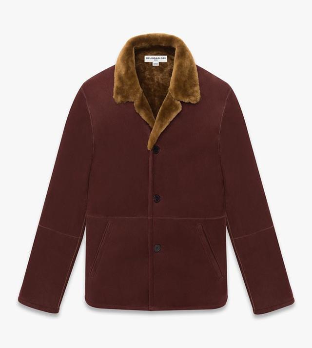 Melindagloss Burgundy Shearling Boxy Jacket