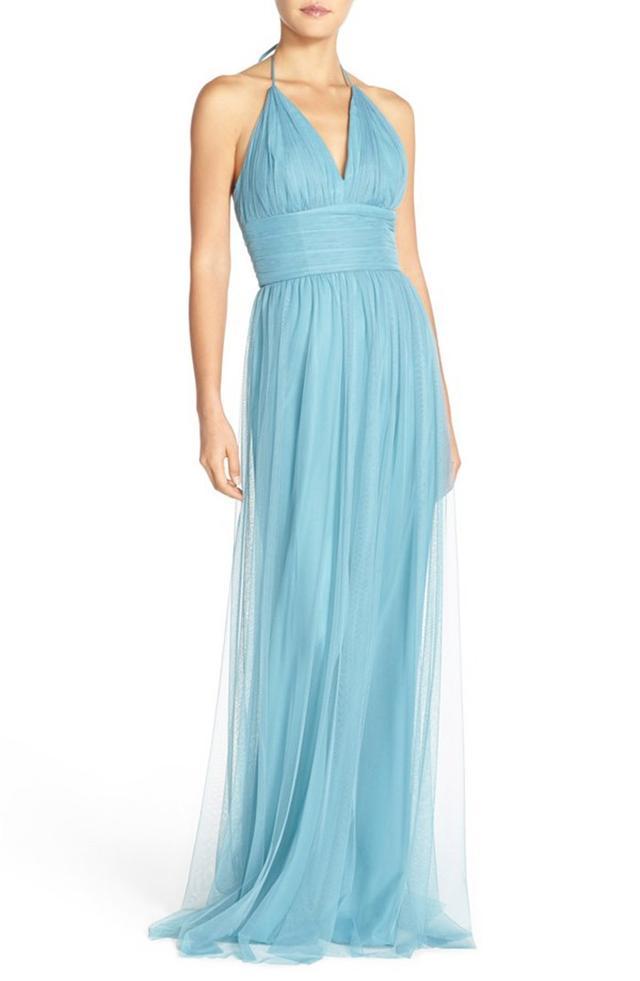 Amsale Tulle Empire Waist Halter Gown