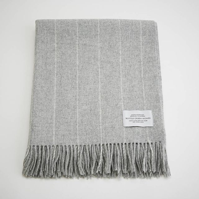 Bottle Green Homes Pinstripe Grey Merino Lambswool Throw