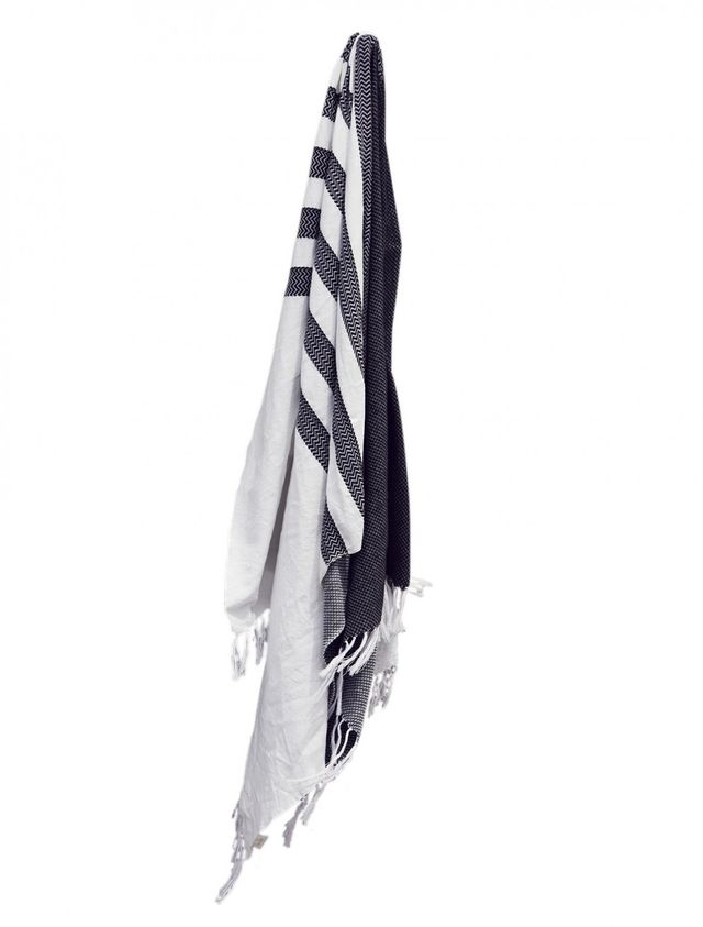 Talulah Black and White Cotton Turkish Towel