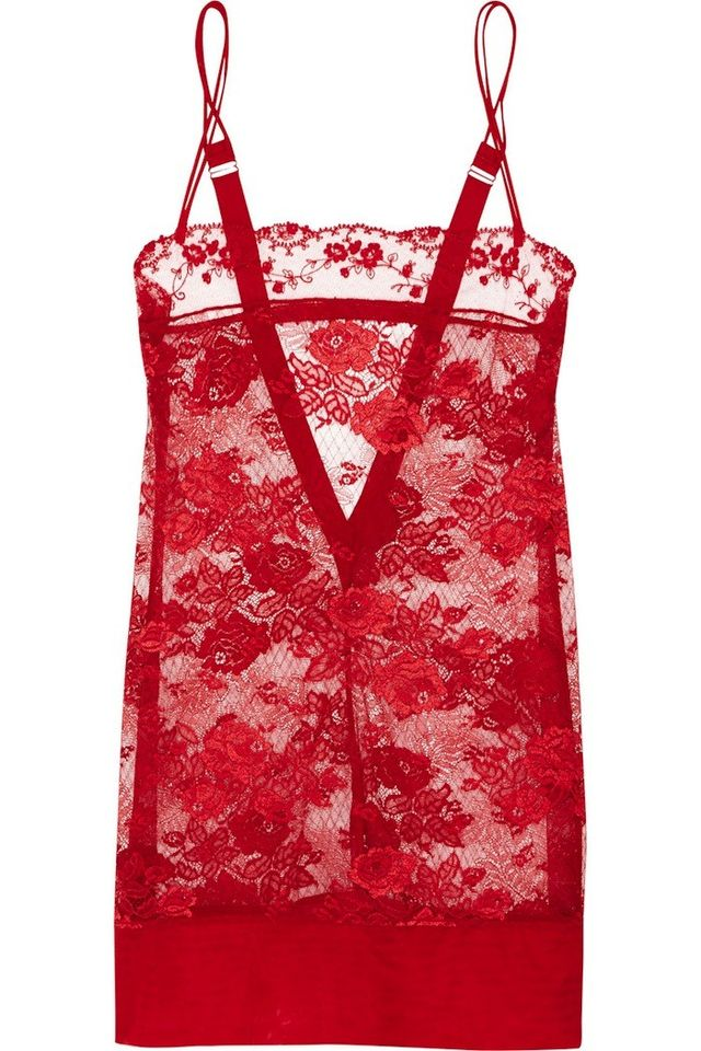 La Perla Maharani Stretch Tulle-Trimmed Embroidered Leavers Lace Chemise