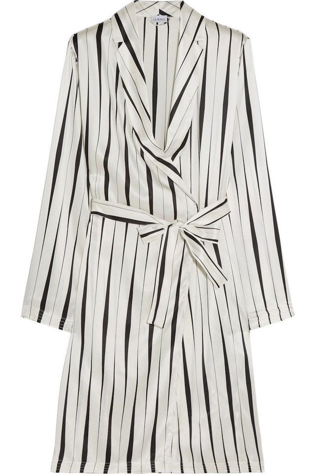 La Perla Striped Silk-Satin Robe