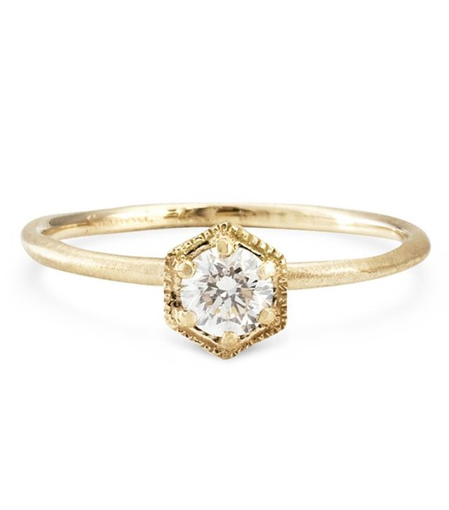 Satomi Kawakita Hexagon Ring, White Diamond, Gold