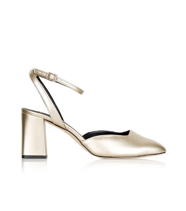 Topshop Josephine Flare Heeled Leather Shoes