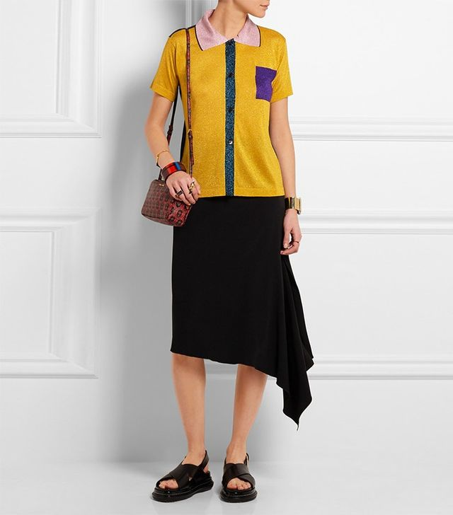 Marni Color-Block Metallic Knitted Polo Shirt