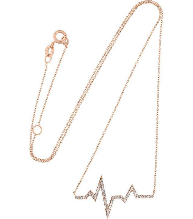 Diane Kordas Heartbeat 18-Karat Rose Gold Diamond Necklace